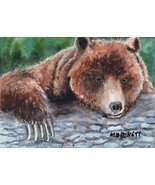 ACEO Original Painting Bear Claws wildlife animals grizzly brown log forest - $16.00