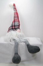 "20"" Scandinavian Felt Gnome Shelf Sitter in Plaid Hat Christmas Decor - $15.79"