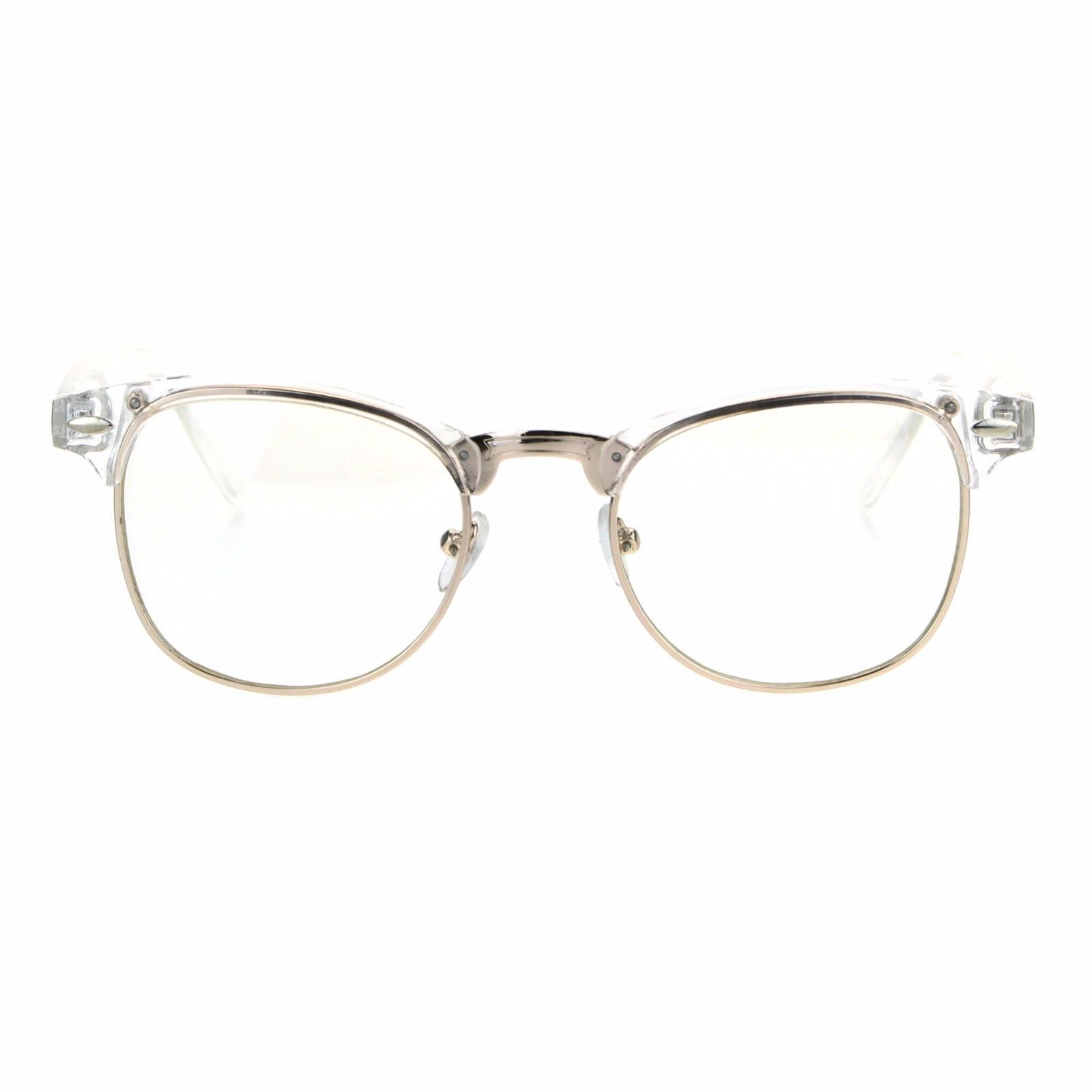 Clear Lens Clear Gold Frame Glasses Designer Style Eyeglasses Unisex