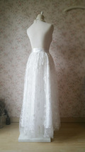 Embroidery White Lace Tulle Maxi Skirt Alternative Wedding Party Bridal Skirts image 5
