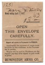 World war One Era 1917 Remington Arms Co. Paymaster Employee Pay Shortage  - $40.00