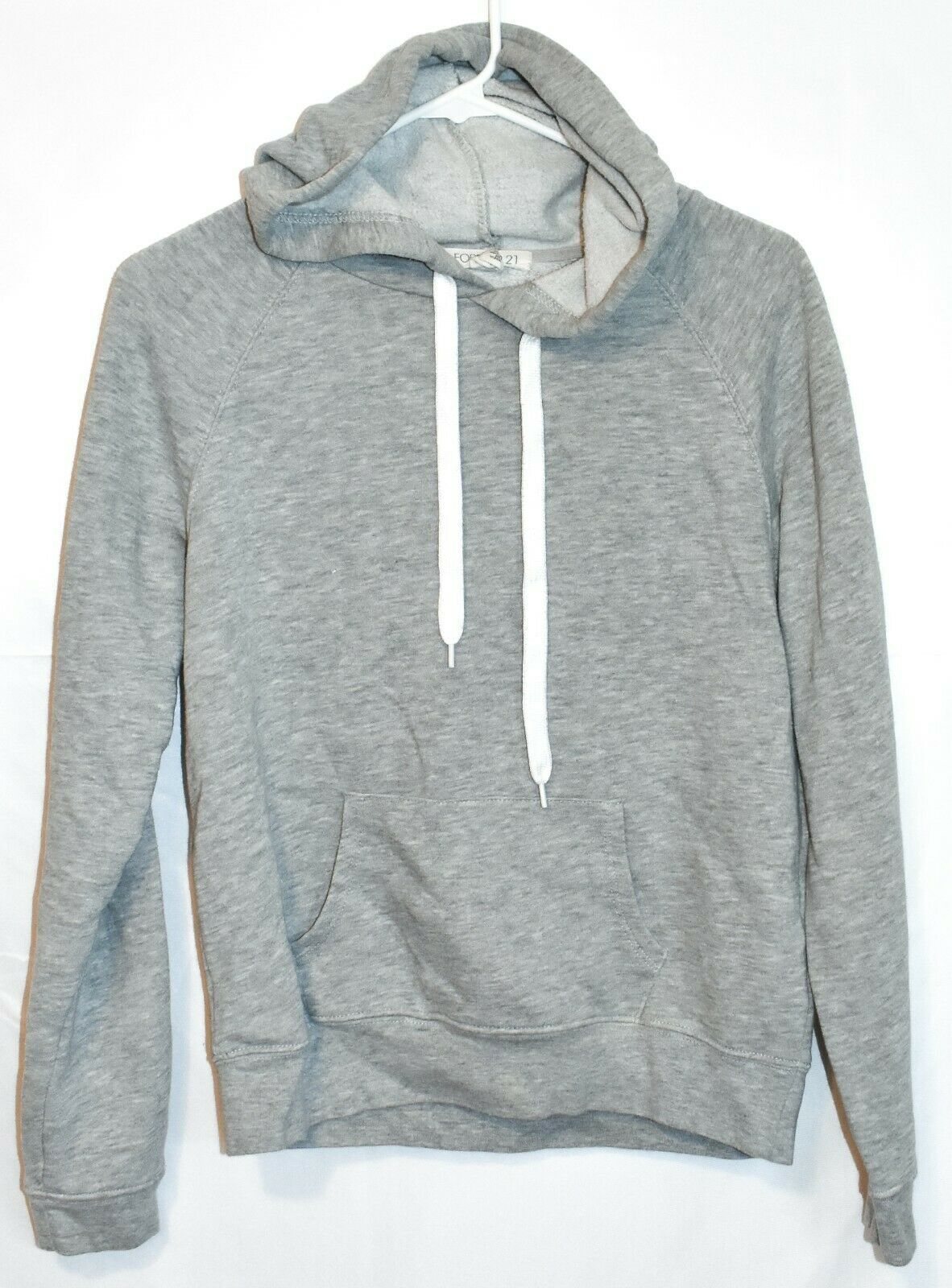 Forever 21 Women's Plain Gray Front Pocket Pullover Hooded Sweatshirt Hoodie S