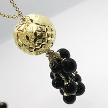 Necklace Silver 925, Yellow, Big Sphere Worked, Waterfall Onyx Black image 4