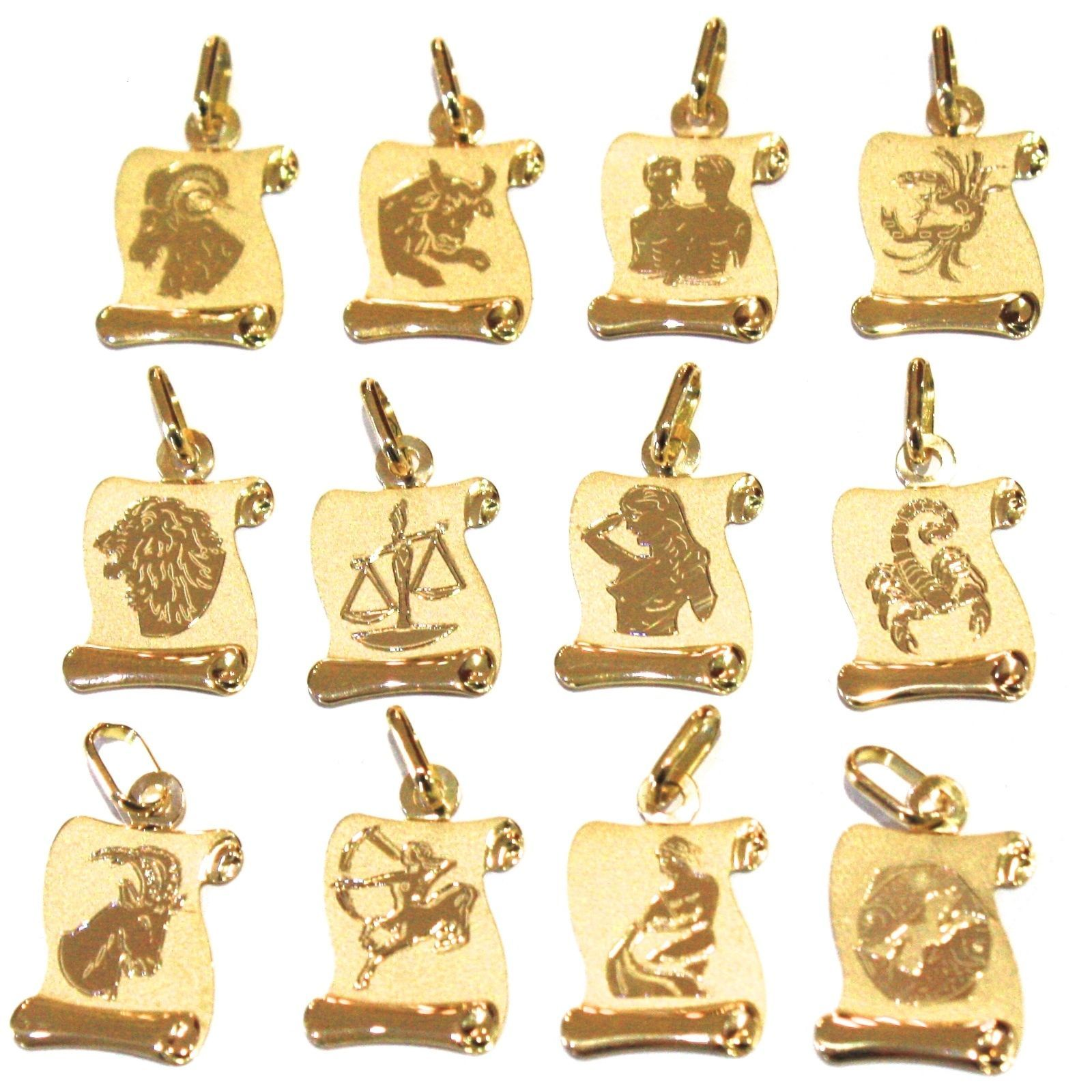 PENDANT YELLOW GOLD 18K SIGN THE ZODIAC SCROLL ENGRAVABLE, CORD BLACK