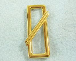 MONET Crossed Rectangle Gold Plated Brooch Pin Classic Abstract Vintage ... - $13.81