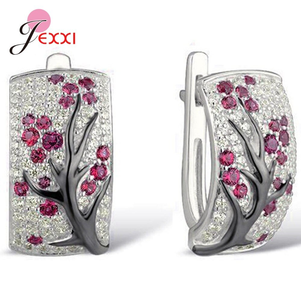 Primary image for S925 Sterling Silver Hoop Earrings AAA Cubic Zirconia Tree Branch Pendientes Jew
