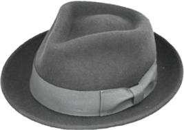 Henschel Wool Felt Gentleman Fedora Grosgrain Ribbon Band Sweatband Charcoal - $57.00