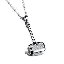 Titanium Steel Thor's Hammer Quake Pendant Necklace for Men - $41.31