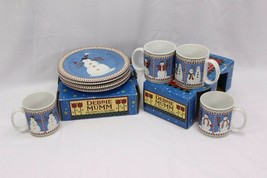 "Sakura Snowman 1998 Salad Plates Mugs Debbie Mumm 8"" Set of 12 - $58.79"