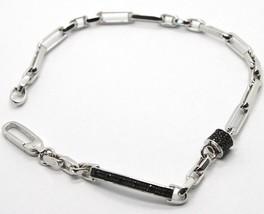 Bracelet or Blanc 18K 750, Tubes et Ovales Alterné, Plaque avec Zirconia - $875.92
