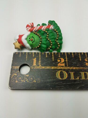 1981 Hallmark Holiday Christmas Pin Smiling Christmas Tree w/ Candy Cane image 4