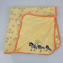 Gymboree Zebra Yellow Baby Blanket 2006 Reversible Orange Green Safari J... - $32.66