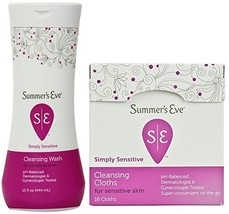 Summer's Eve Simply Sensitive, Cleansing Combo Pack, 1-15-Ounce Wash, Plus 1-16  - $21.02