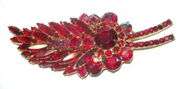 "GOLD TONE 3"" D & E JULIANA LARGE VINTAGE RED LAYERED OPEN BACK RHINESTON... - $95.00"