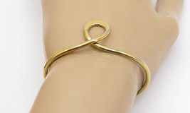 925 Sterling Silver - Vintage Petite Gold Plated Swirl Cuff Bracelet - B... - $37.55