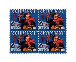 1937 American Lung Association Christmas Seals, Block of 4 Scott WX Mint... - $2.99