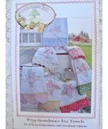 CrabApple Hill Grandma's Tea Towels Pattern 7 Embroidered Tea Towel Bord... - $8.99