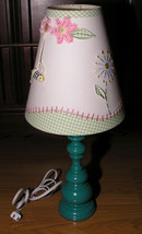 Table Lamp Pottery Barn Kids Garden Themed Embroidery Blue Yellow Pink G... - $49.99