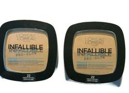 2 L'Oreal Infallible Pro Glow Longwear Pressed Powder #22 Creamy Natural - $15.85