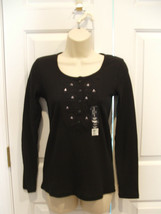 NWT Faded Glory Black Henley Cotton Blend Long Sleeve Top Size Junior SM... - $11.13