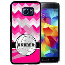 Personalized Rubber Case For Samsung S8 S7 S6 S5 Edge Plus Chevron Volleyball - $12.98+