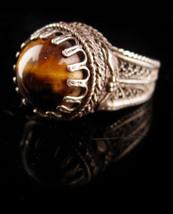Vintage sterling filigree Tiger Eye Ring - Israel 925 tigereye - size 6 ... - $175.00