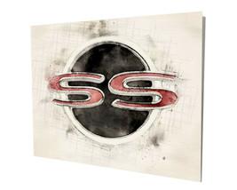 Chevrolet SS Super Sport Black Red Watercolor Design 16x20 Aluminum Wall Art - $59.35