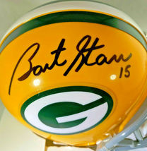 BART STARR / NFL HOF / AUTOGRAPHED GREEN BAY PACKERS LOGO MINI HELMET / STEINER image 2