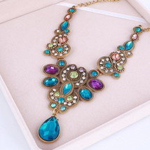 Luxury Jewelry Colorful Crystal Choker Necklace For Women Necklaces & Pe... - $6.79
