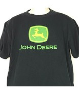 John Deere T-Shirt Men Size L Black Green Yellow Big LOGO Short Sleeve C... - $12.86