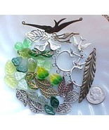 Lot Bird Beads Czech Green Leaf Spring Charms Silver Copper Assorted DIY... - $9.99