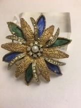 Vintage Signed ART Goldtone Flower Pin Rhinestone Faux Pearl Brooch - $21.22