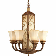 Billy Moon Vintage Parchment glass Chandelier Forged Metal scroll P4473-122 - $626.35