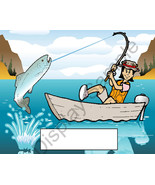 Fishing Female  Toon Character Personalized Matted Print Finished Produc... - $16.95