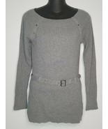 White House Black Market Womens Gray Shirt Top Belt Sz Small Long Sleeve - $24.99