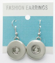 Interchangeable Snap Dangle Charm Button Snap Earrings Silver Tone 18mm ... - $7.81