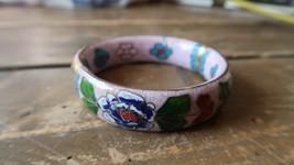 "Vintage Wide Cloisonne Hinged Bangle Bracelet Inner Diameter 2.5"" x 3/4"" - $23.75"