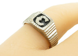 MEXICO 925 Silver - Vintage C Initial Graduating Square Band Ring Sz 8- ... - $28.01