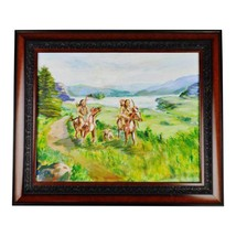Framed Oil on Board Signed Painting Native American Indians on Horseback - $395.00