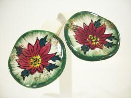 Poinsettia Ceramic Handpainted Christmas Clip Earrings Red Green Flower ... - $14.84