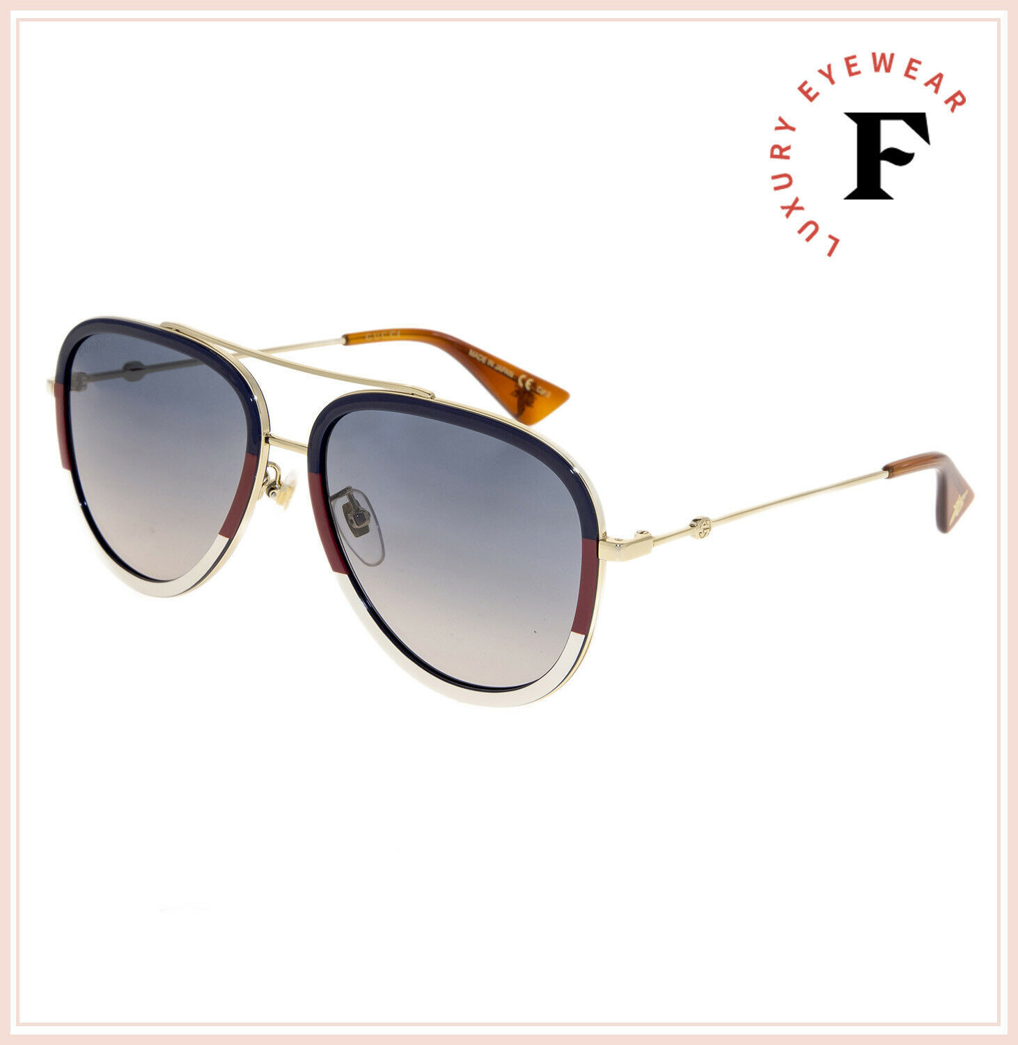 GUCCI 0062 Gold Sylvie Aviator Blue Gradient Metal Sunglasses GG0062S Unisex