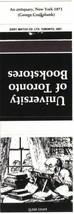Ontario Matchbook Cover University Of Toronto Bookstores White Antiquary... - $1.89