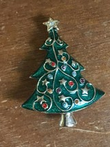 Estate Green Enamel w Goldtone Stars & Garland & Colorful Rhinestones Ch... - $13.29