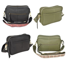 Women's Leather Handbag Embroidered Tribal Pattern Strap Shoulder Purse image 1