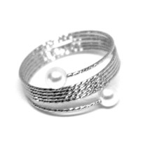 18K WHITE GOLD MAGICWIRE BAND RING, ELASTIC WORKED MULTI WIRES, PEARLS, SNAKE image 1