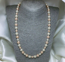 Peach and White Swarovski Crystal Pearls Necklace 20 inch - $25.00