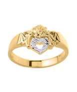 """14K Two Tone Gold Open Heart """"Mom"""" Ring - $365.99"""