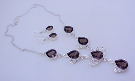 Smoky Silver Overlay Handmade Jewelry Necklace 34 Gr. F-203 -23 - $27.00