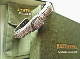 JUDITH RIPKA STERLING SILVER DIAMONIQUE CABLE CUFF BRACELET JR BOX & POU... - $159.95