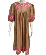Vintage women's dress 70' short sleeve flowered made in Taiwan size A8 - $31.19